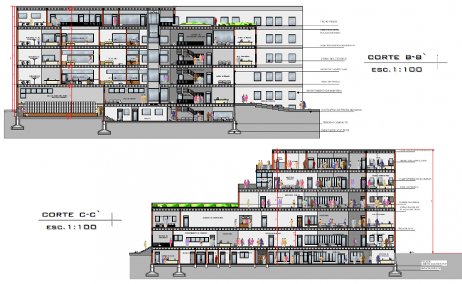 Court building plan detail view dwg file