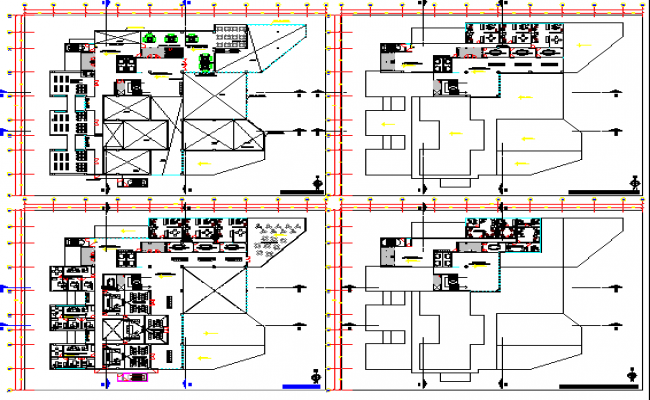 Court house high rise building floor plan details dwg file