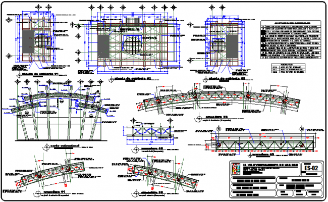 Cover plan of stadium with structural detail dwg file