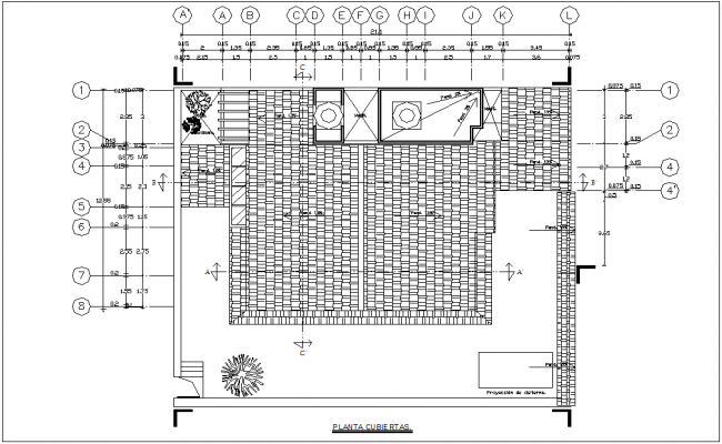 Cover plan with construction view of housing dwg file