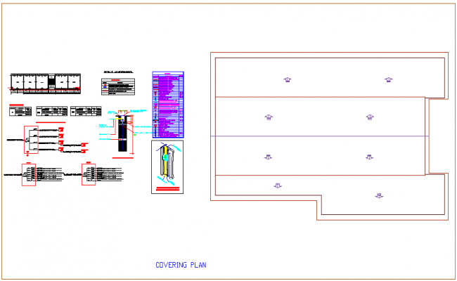 Cover plan with electrical switch board scheme with its isometric view for leather plant dwg file