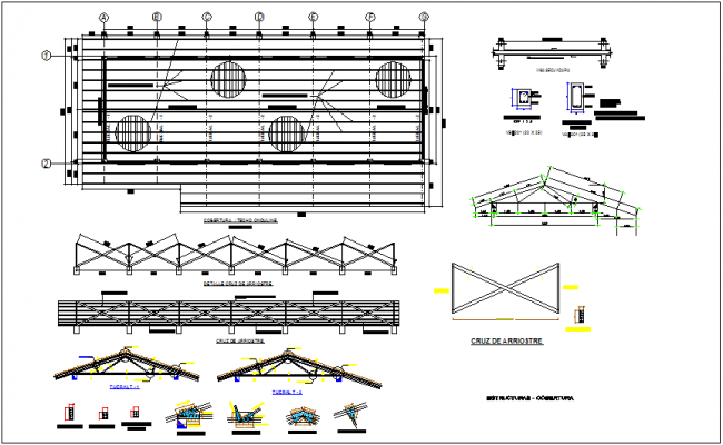 Coverage steel structure  plan with structural detail for maternity and pediatric care center dwg file