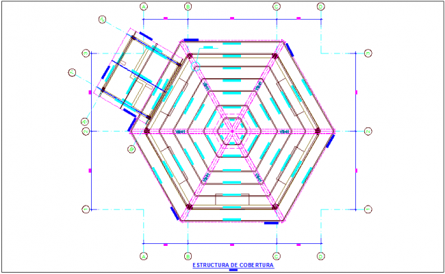 Coverage structure plan for educational building dwg file