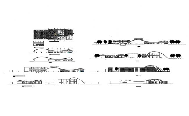 Crabs beach hotel all sided elevation and section details dwg file