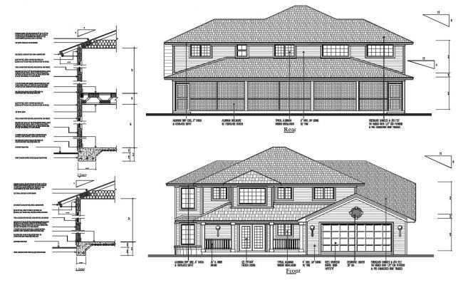 Craftsman House Elevation Design DWG File
