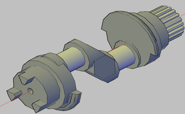 Crank shaft 3d view dwg file