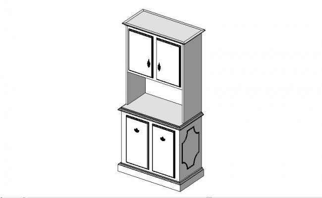 Creative 3d small cabinet block cad drawing details dwg file