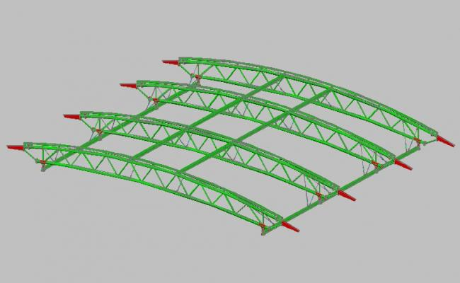 Creative Arced truss 3d drawing details skp file