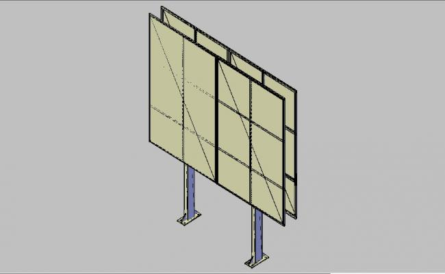 Creative advertising board 3d block cad drawing details dwg file