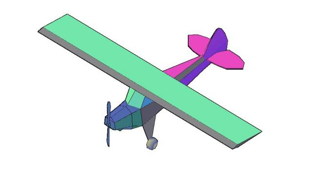 Creative aircraft top view elevation 3d drawing details dwg file