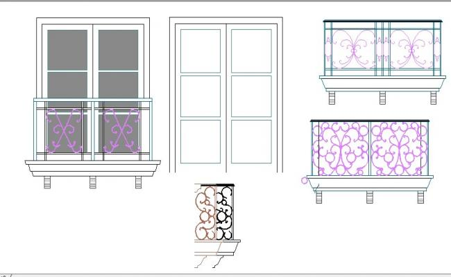 Creative balcony and door blocks cad drawing details dwg file