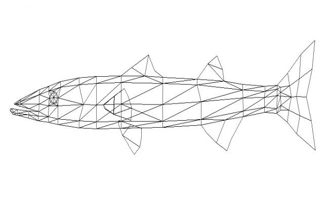 Creative fish side elevation cad block details dwg file