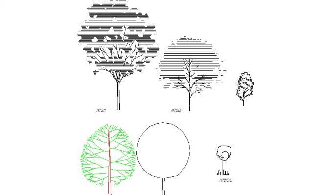 Creative garden tree blocks cad drawing details dwg file
