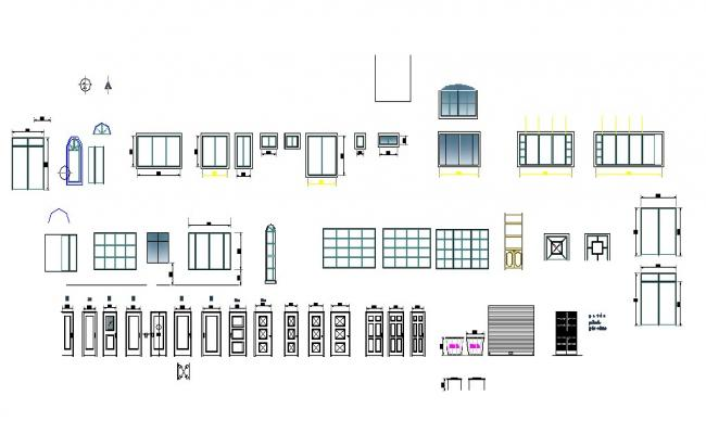 Creative house doors and windows blocks cad drawing details dwg file