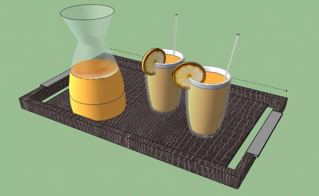Creative juice set with tray 3d blocks cad drawing details dwg file