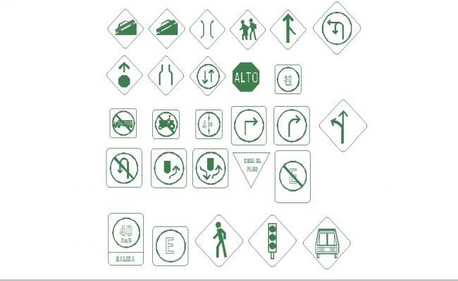 Creative multiple sing and symbol blocks cad drawing details dwg file