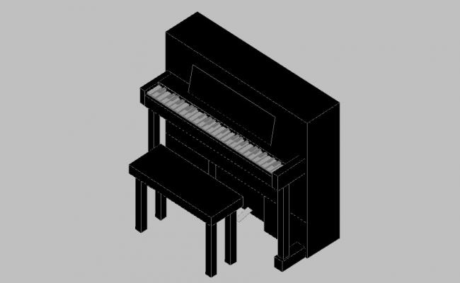 Creative piano and piano table 3d blocks cad drawing details dwg file