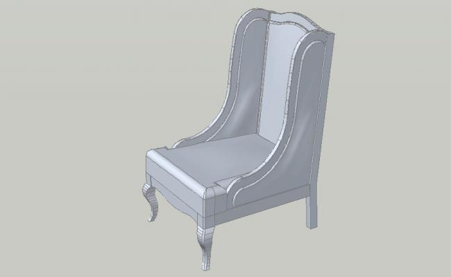 Creative single armchair 3d block cad drawing details dwg file