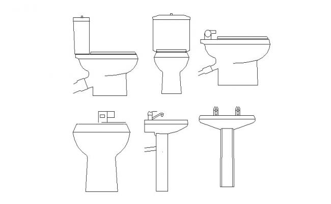 Creative sink and toilet sheet elevation blocks details dwg file