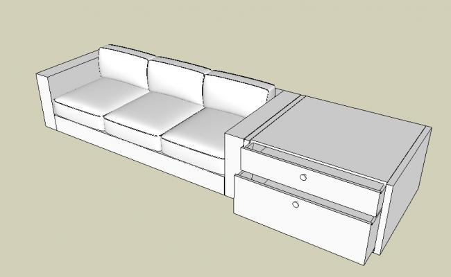 Creative sofa set with side drawer table 3d model cad drawing details skp file