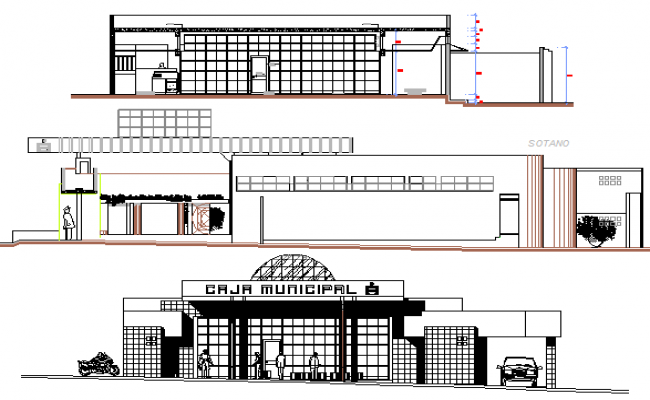 Credit agency office elevation and sectional details dwg file