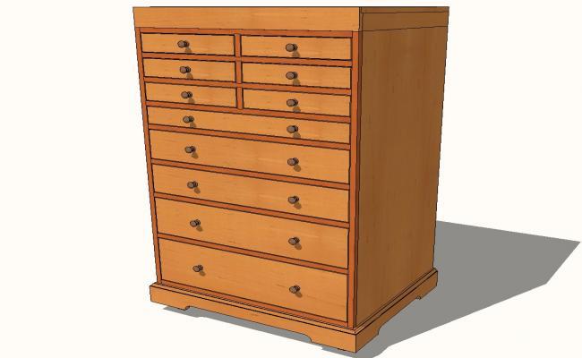 Creekside rolling tool cabinet 3d cad drawing details skp file