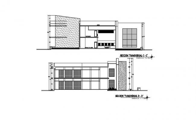 Cross Section Building Drawing In AutoCAD File