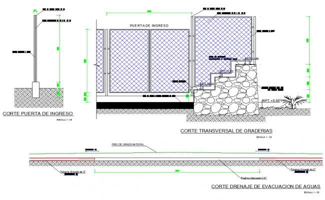 Cross section of bleachers details dwg file