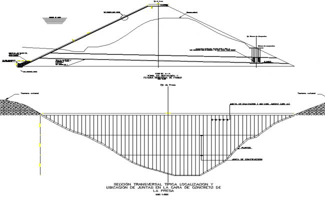 Cross section typical location and location of joints in the face of concrete of the dam detail dwg file