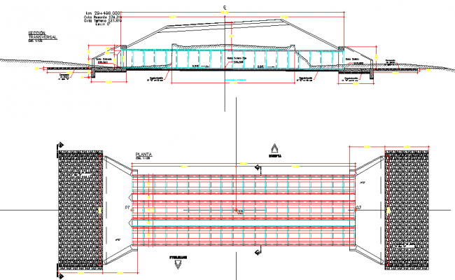 Cross triple plan and section detail autoacd file