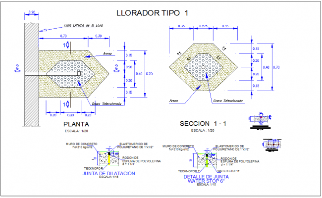 Crusher plan and section structure view with polyurethane line and wall foundation dwg file
