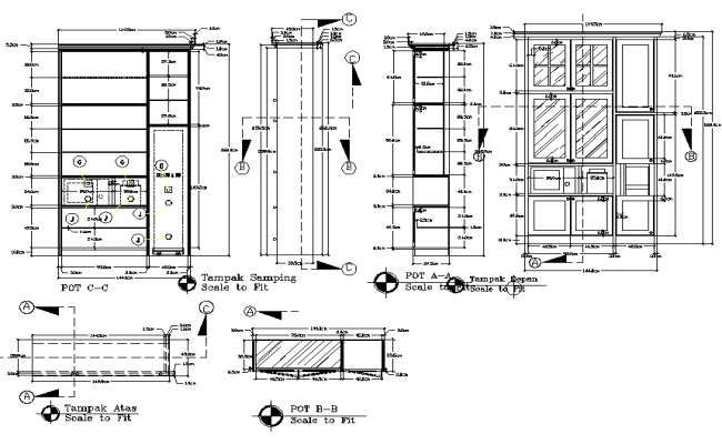 Wardrobe Plan Elevation Section : Cub board plan and elevation detail dwg file