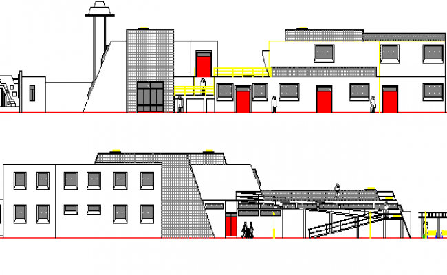 Cultural Center Architecture Layout and Elevation dwg file