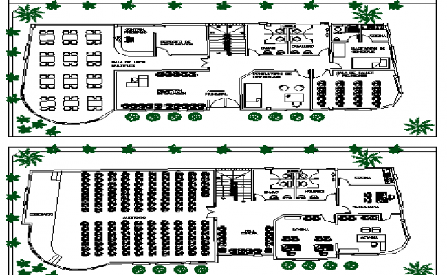 Cultural Center Architecture Layout and Structure Details dwg file