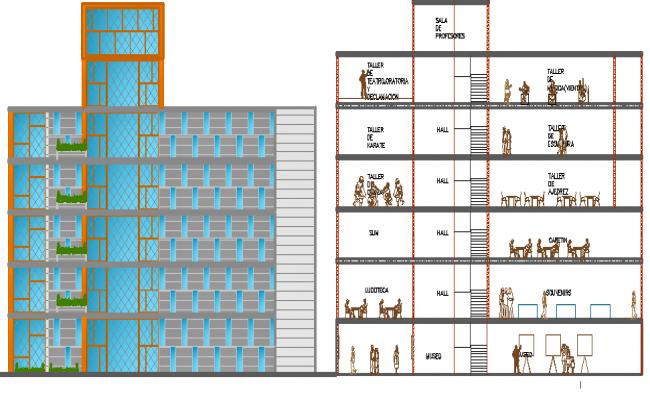 Cultural Center Design and Elevation dwg file