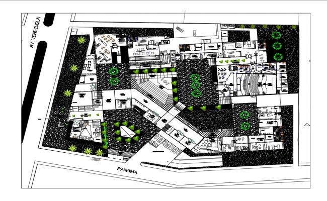 Cultural center plan and landscaping structure cad drawing details dwg file