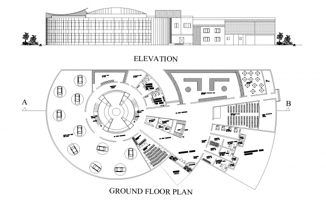 Cultural center plan detail dwg file.