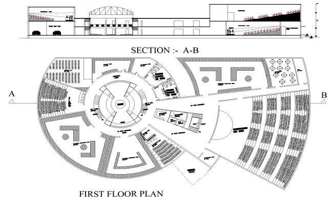 Cultural centre plan detail dwg file