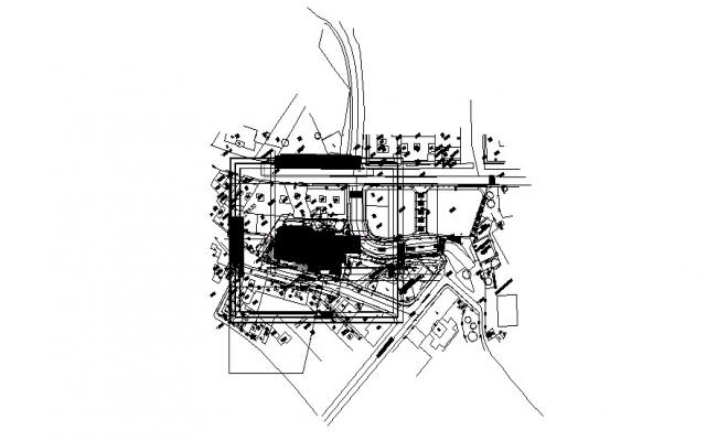 Culture center distribution and site plan cad drawing details dwg file