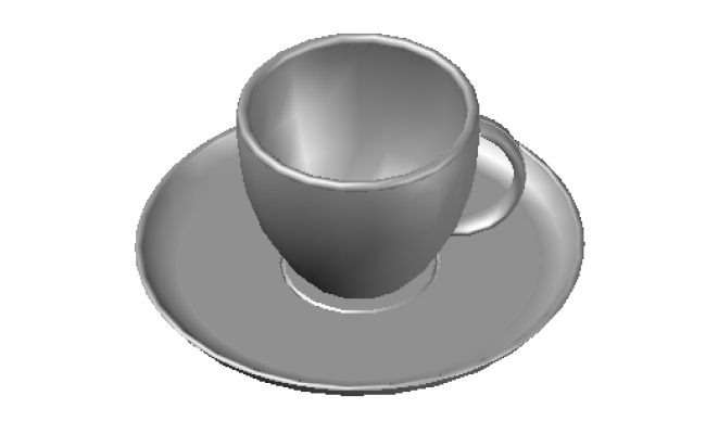 Cup and saucer elevation in 3d