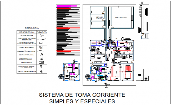 Current socket system view for industrial plant of canal dwg file