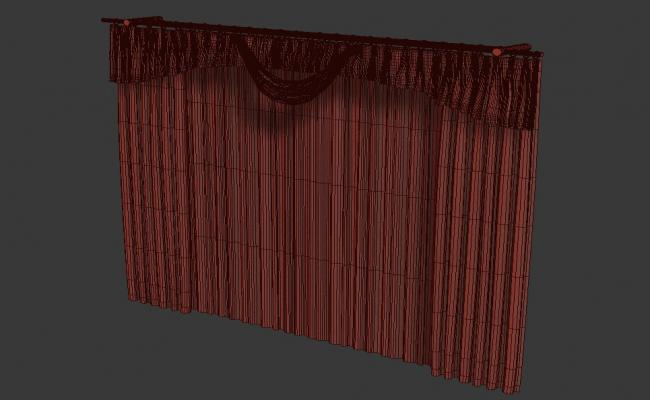 Curtain Rendered Drawing With Traditional Design In Upper Side 3D MAX File