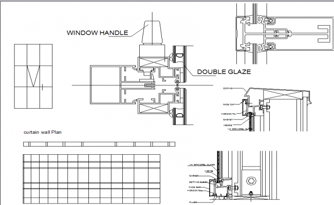 Curtain sectional detail, window handle detail dwg file
