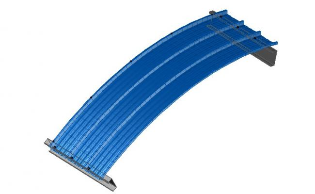 Curve panel a metal structure roof type 3d drawing details dwg file