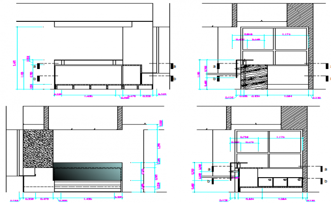 Cut elevation and sectional view of amplification office dgw file