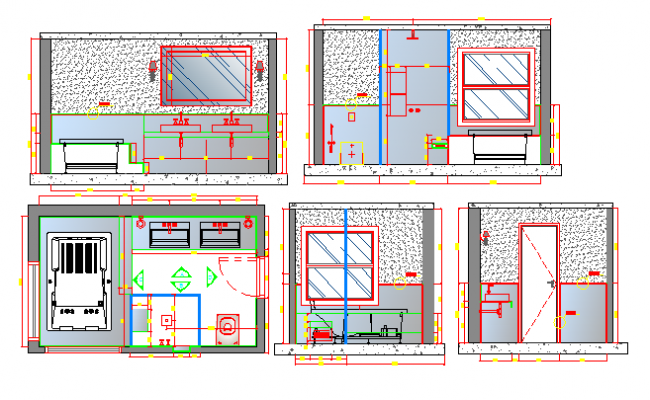Cut sectional view details of urban school project dwg file