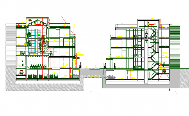 Cut sectional view of multi-flooring office building dwg file
