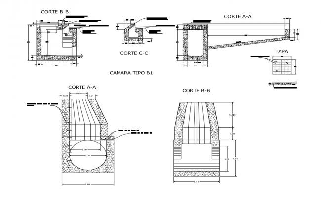 Cut sinks and cameras cad structure details dwg file