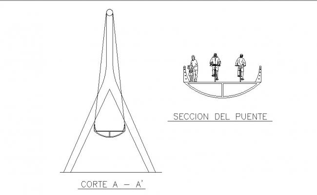 Cutting and bridge section for bike lane cad drawing details dwg file