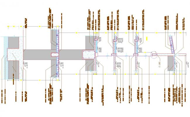 Cutting facade detail and section in cad files